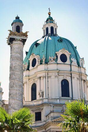 Detail of Karlskirche in Vienna, Austria photo