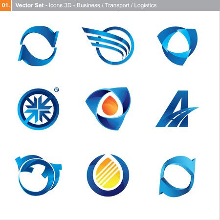 transport: Icons: 3d-Set f�r Wirtschaft, Verkehr, Logistik Illustration