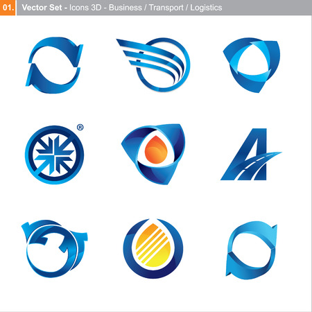 icons: 3d set for business, transport, logistics