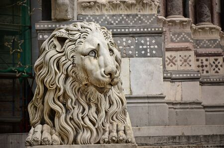 genoa: Lion sculpture in front of the Cathedral of St. Lawrence, Genoa, Italy