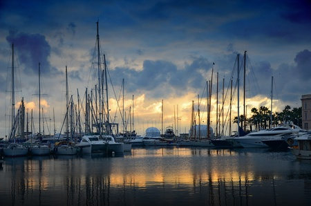 The sun set over the marina in Cannes photo