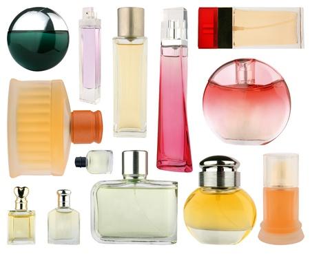 Set of perfume bottles isolated on white photo