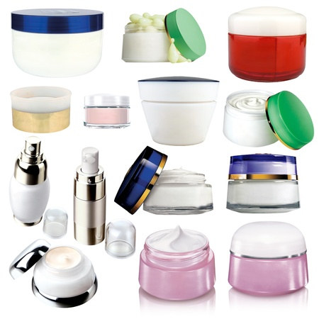 kosmetik: Kosmetik-Creme und verschiedenen Packs auf wei� isoliert Lizenzfreie Bilder