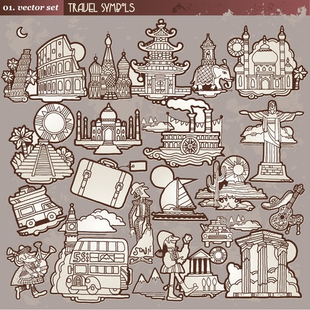 moscow churches: Vintage travel symbols  Illustration
