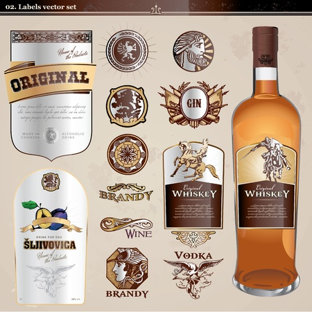 whiskey bottle: Conjunto de etiquetas