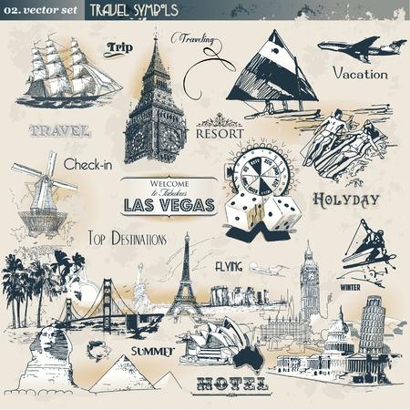 Vintage travel symbols  Illustration