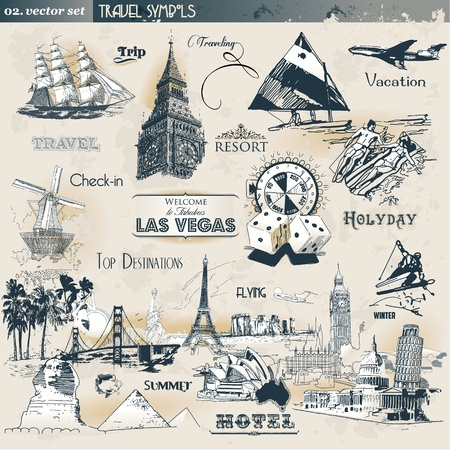Vintage travel symbols Stock Vector - 9875216