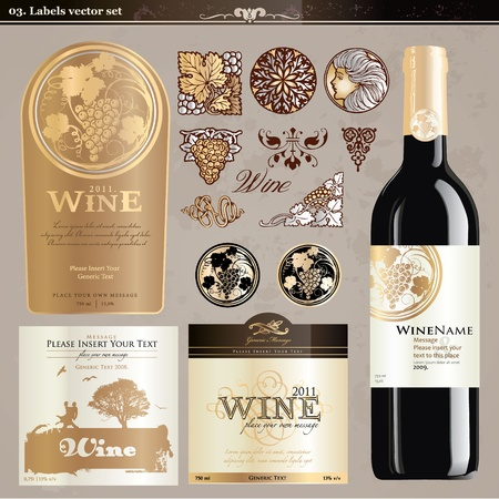 bottle of wine: Wine labels set