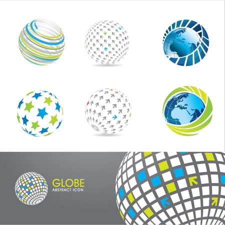 globe abstract: Set of globe icons