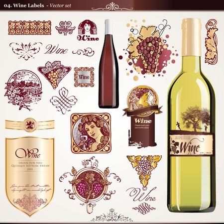 red wine bottle: Conjunto de etiquetas de vino