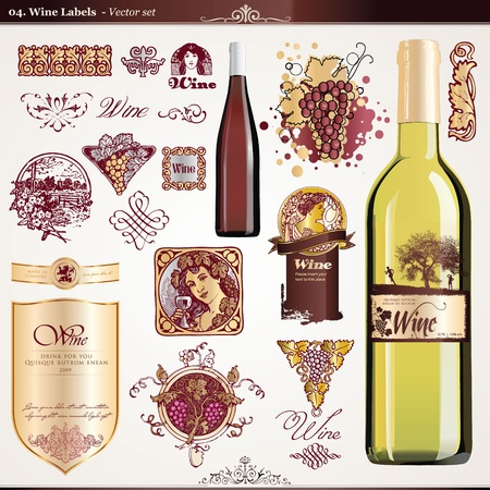 vintage bottle: Wine labels set