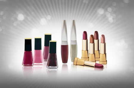 Cosmetics set - lipsticks and nail polishes  photo