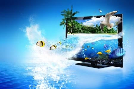 -自然の魔法の世界の 3 D テレビ