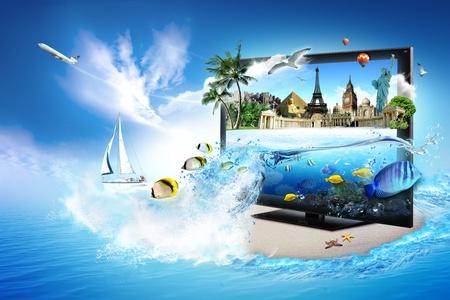 -あなたの家の世界の 3 D テレビ 写真素材 - 10089482