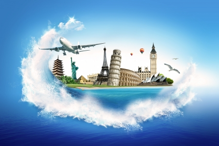 Travel – collection of the world monuments Stock Photo - 10089486