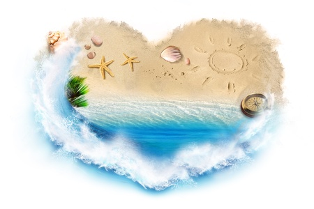 heart in sand: I love beach