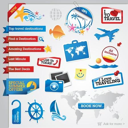여행: 여행 요소 컬렉션 일러스트