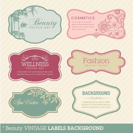 with sets of elements: Beauty vintage labels