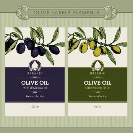 foglie ulivo: Set di etichette di olio d'oliva Vettoriali