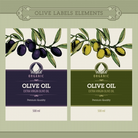 food label: Set of olive oil labels