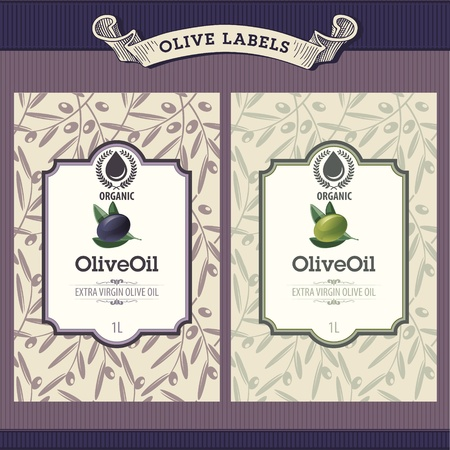 mediterranean diet: Set of olive oil labels