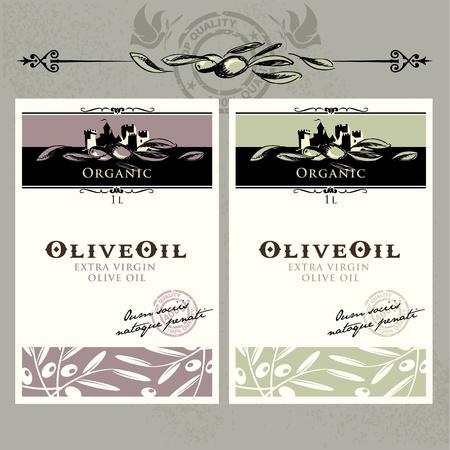 abstract art vegetables: Set of olive oil labels
