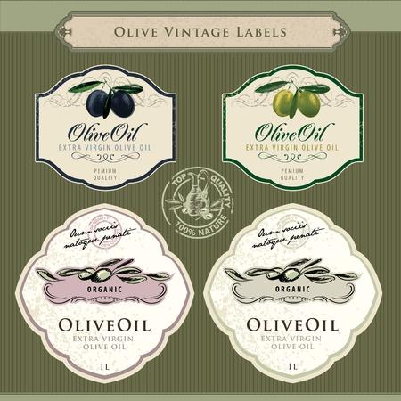 mediterranean food: Set of olive oil labels