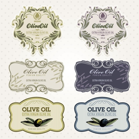 olivo arbol: Conjunto de etiquetas de aceite de oliva