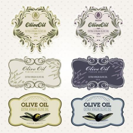 olijf: Olijfolie labels set Stock Illustratie