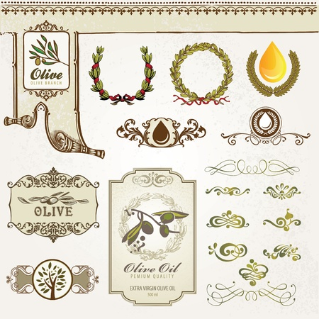 olive wreath: Collection of olive elements