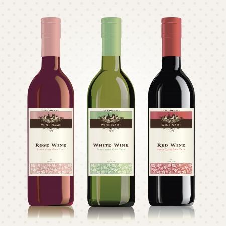 Rot, weiß und rosé Wein-Etiketten und Flaschen