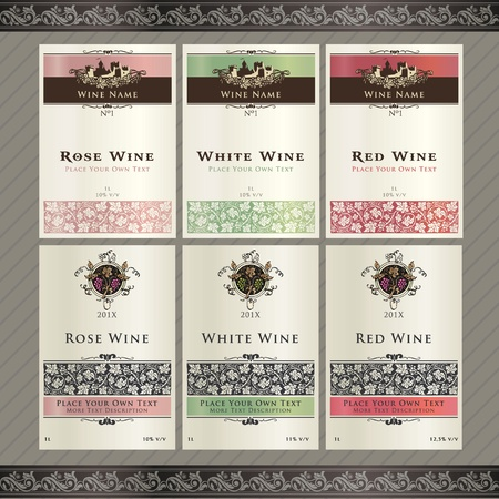food label: Set of wine label templates  Illustration