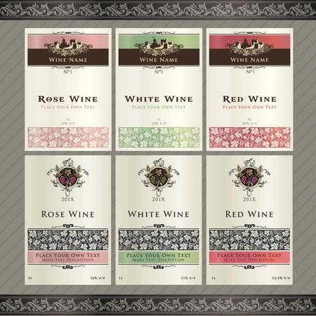 wijn en spijzen: Set van wijn labelsjablonen Stock Illustratie