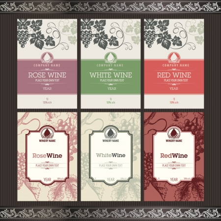 food packaging: Set of wine labels