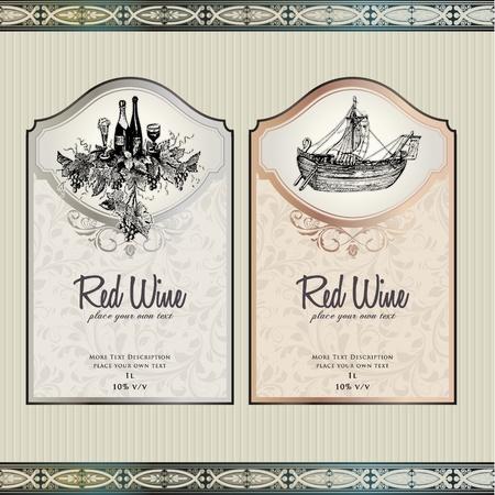 Set of wine labels