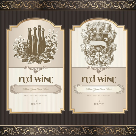 glass with red wine: Set of wine labels