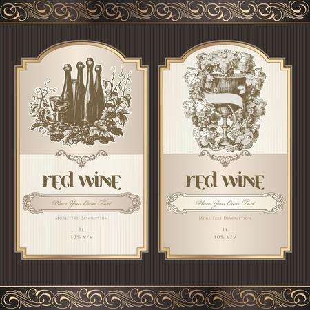 wijn en spijzen: Set van wijnetiketten