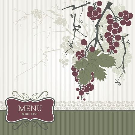 Vintage menu - wine list  Illustration