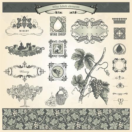 Vintage elements for wine labels