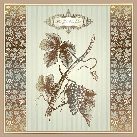 Vintage grape elements for wine label, menu, print material  Illustration
