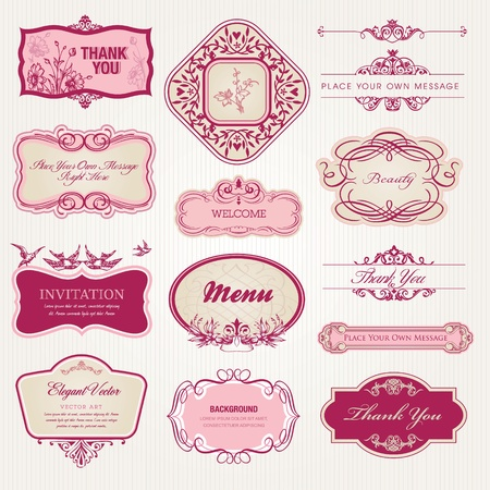 ornament menu: Collection of vintage labels and stickers  Illustration