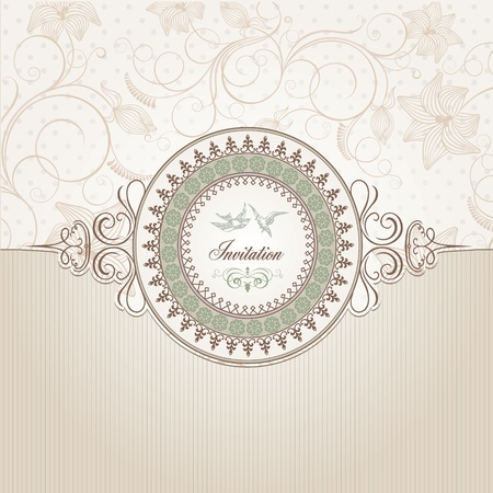 wedding card design: Vintage background template  Illustration