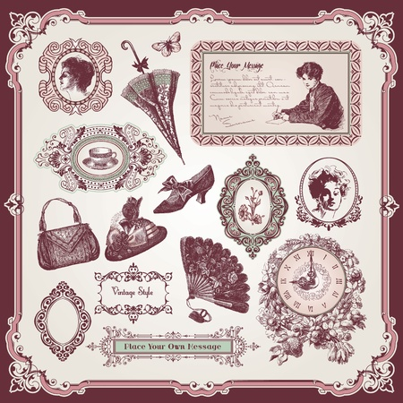 victorian lady: Collection of vintage elements