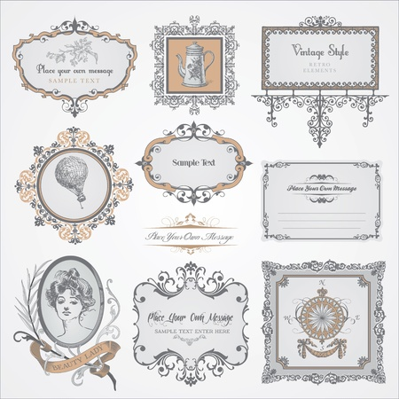 Collection of vintage labels and stickers  Vector