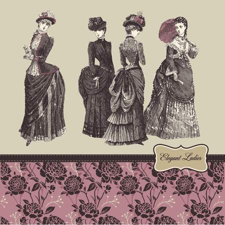 victorian lady: Elegant vintage ladies Illustration