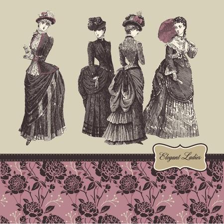 Elegant vintage ladies Stock Illustratie