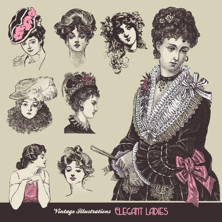Vintage ladies Stock Illustratie