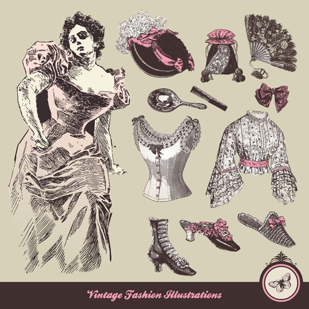 Vintage fashion - clothes and accessories collection Vector