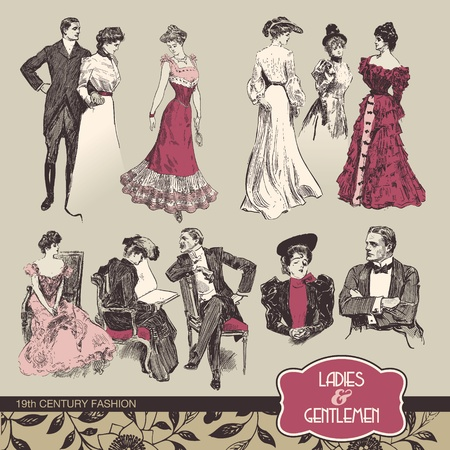 vintage clothing: Ladies and gentlemen 19th century fashion Illustration
