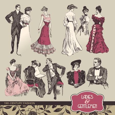 Señoras y señores del siglo XIX moda Ilustración de vector